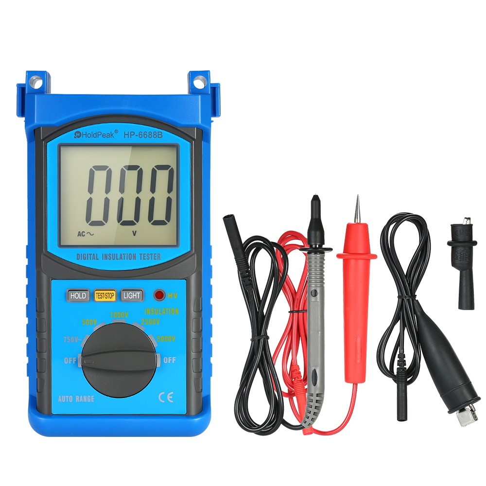 HoldPeak HP-6688B Insulation Resistance Tester Protable Digital 1000V 2500V 5000V Auto Range ohm tester as907a digital insulation tester megger with voltage range 500v 1000v 2500v