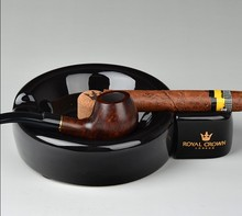 2 in 1 Smoking Gadgets Ceramic Cigar Ashtray With Cigar Holder and Smoking Pipe Rack Round Ash Tobacco Cigarette Ashtray Gift