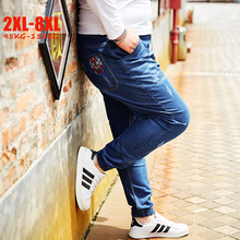 בתוספת גודל ג ינס גברים אלסטי 5XL 6XL 7XL 8XL גדול גודל ג ינס גברים עם גומייה גדול גודל זכר ג ינס 2XL 8XL עבור 155 kg