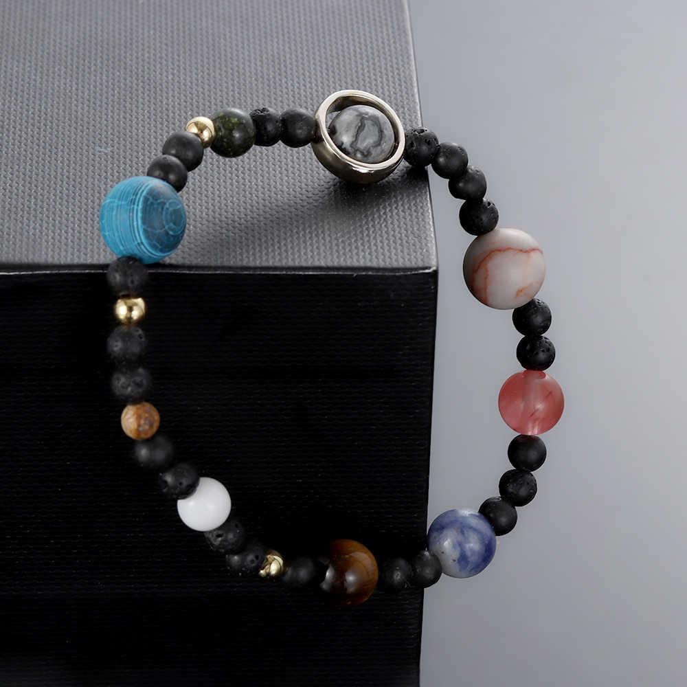 Ручной работы с натуральным драгоценным камнем браслет Вселенная Galaxy девять планет Солнечной системы камень бисером регулируемый браслеты подарок