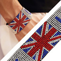 England Flag Waist Band Micro Pave Full imitated diamond Simulated Bangle Bracelet New Trendy Hip Hop Jewelry for Men Women