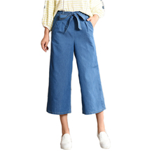 spring and autumn Wide leg pants female summer loose elastic waist plus size calf-length high waist drawstring jeans for women driving passing turn signals spot light bar for harley customs choppers cruiser honda vt 750 1100 vtx 1300 shadow u 1800
