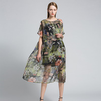 Summer Dress 2017 Runway Fashion Womens Printed Floral Loose Elegant Beach Casual Women Chinese Style Dress