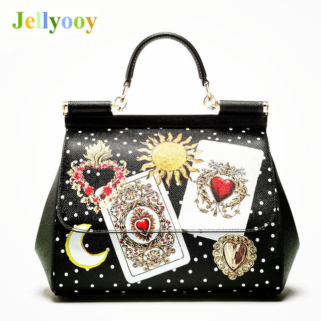 Luxury Italy Brand Sicily Ethnic Bag Genuine Leather Women Casual Tote Platinum Bags Star Moon Print