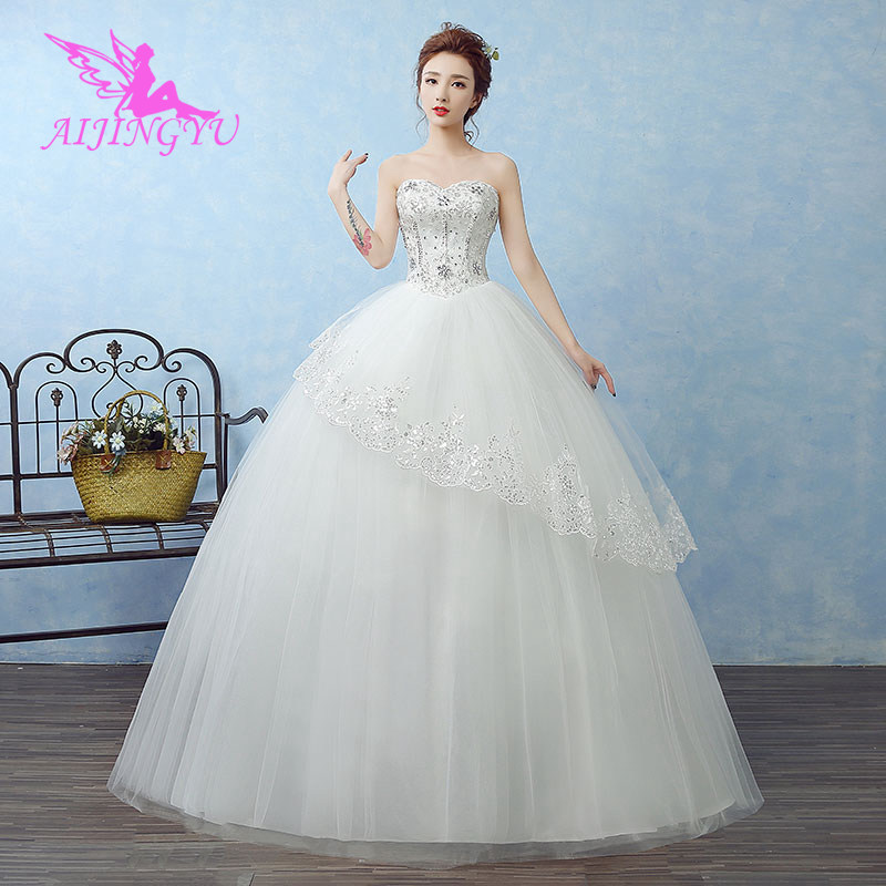 AIJINGYU 2018 Sexy Free Shipping New Hot Selling Cheap Ball Gown Lace Up Back Formal Bride Dresses Wedding Dress WK687