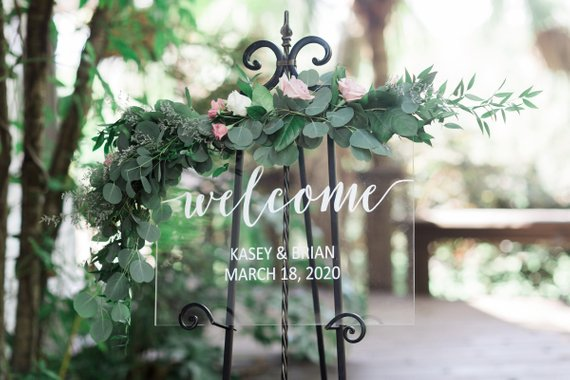 Welcome Sign for Wedding, Clear Glass Look Personalized Sign Modern Wedding Decoration Sign Clear Acrylic Welcome Sign Welcome Sign for Wedding, Clear Glass Look Personalized Sign Modern Wedding Decoration Sign Clear Acrylic Welcome Sign