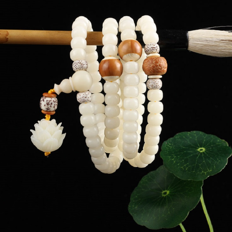 Wholesale Hainan Natural White Bodhi Root Beads Bracelet 108 Mala