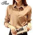 Novas mulheres da moda camisas casual senhora blusa tamanho s-2xl patchwork sólida single-breasted fecho de botão clothing fit primavera outono