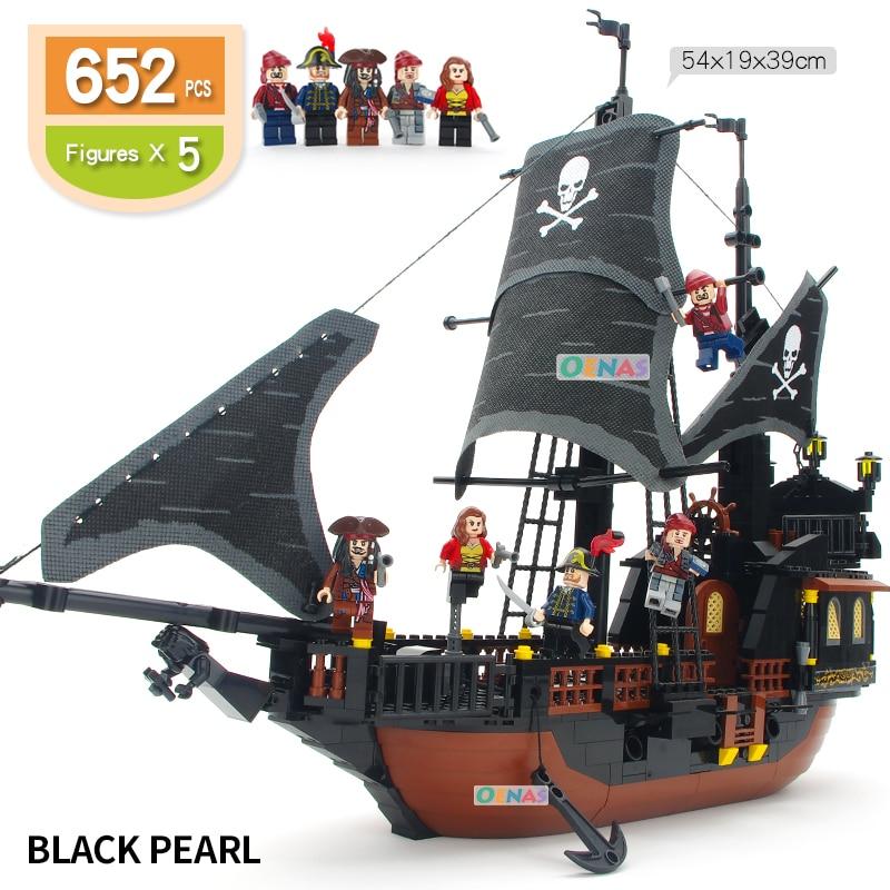 Caribbean Pirate compatible assembled Building Bricks Blocks kids toys set Black Pearl corsair sea rover Children