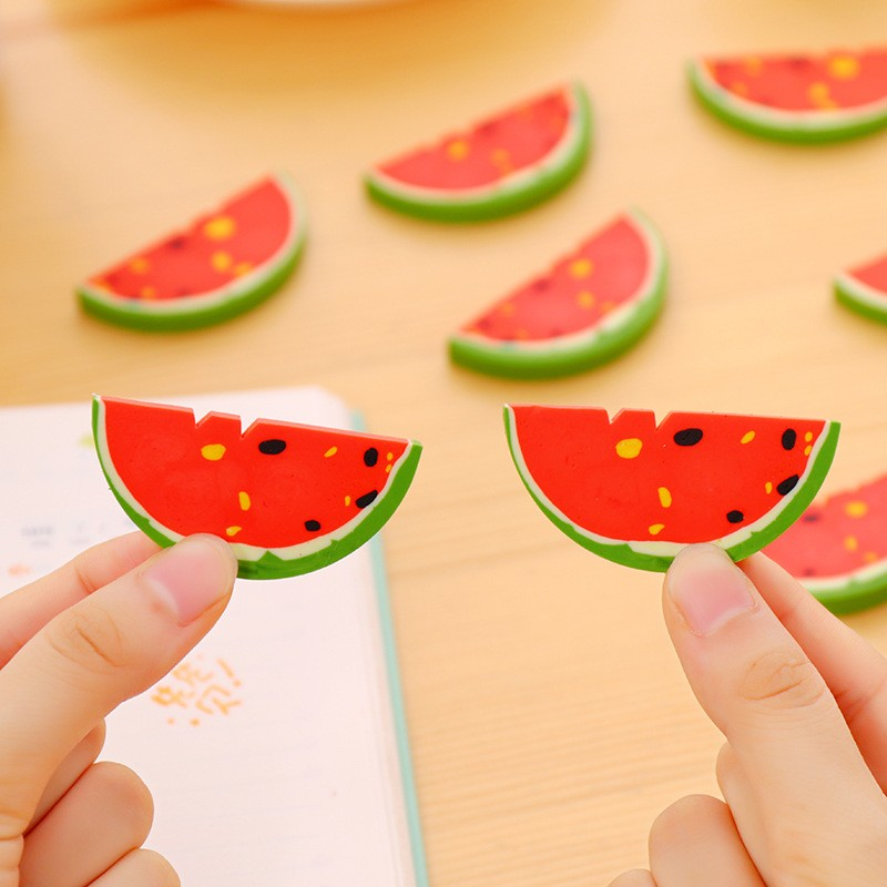 2 Pcs/lot  JWHCJ Cute Watermelon Fruit Rubber Eraser Kawaii Creative Stationery School Supplies Papelaria Gift For Kids