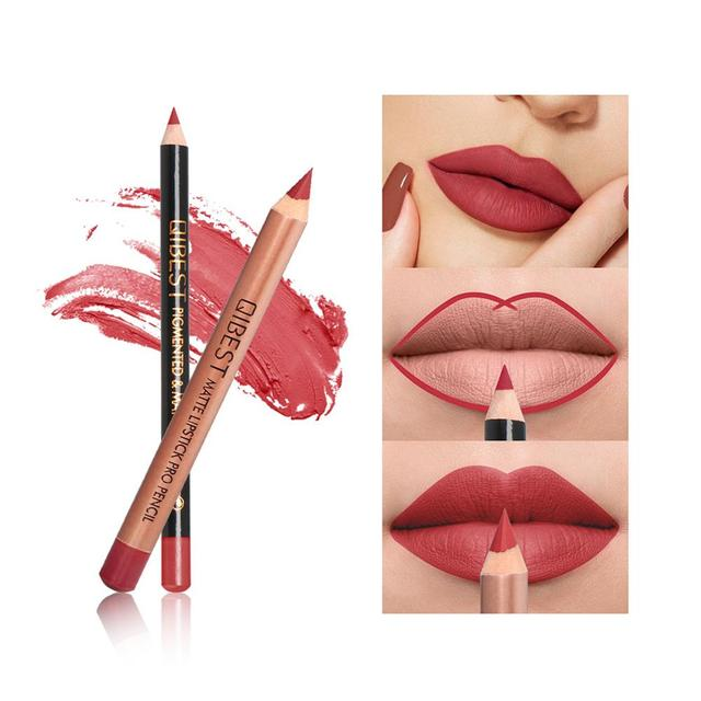 Lápiz labial mate duradero Lápiz Delineador de labios taza antiadherente fácil de Color maquillaje impermeable maquillaje labial