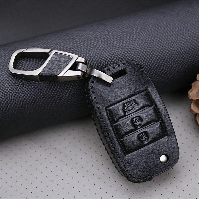 Cubierta de la caja de la llave del coche del cuero genuino para Kia - Accesorios de interior de coche - foto 3