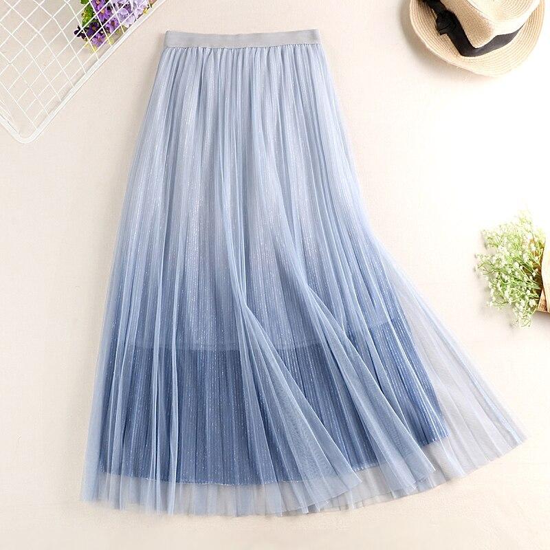 Tulle Skirt 2019 New Summer Korean Women A-Line Skirts High Waist Slim Gradient Color Female Long Pleated Skirts Jupe Femme