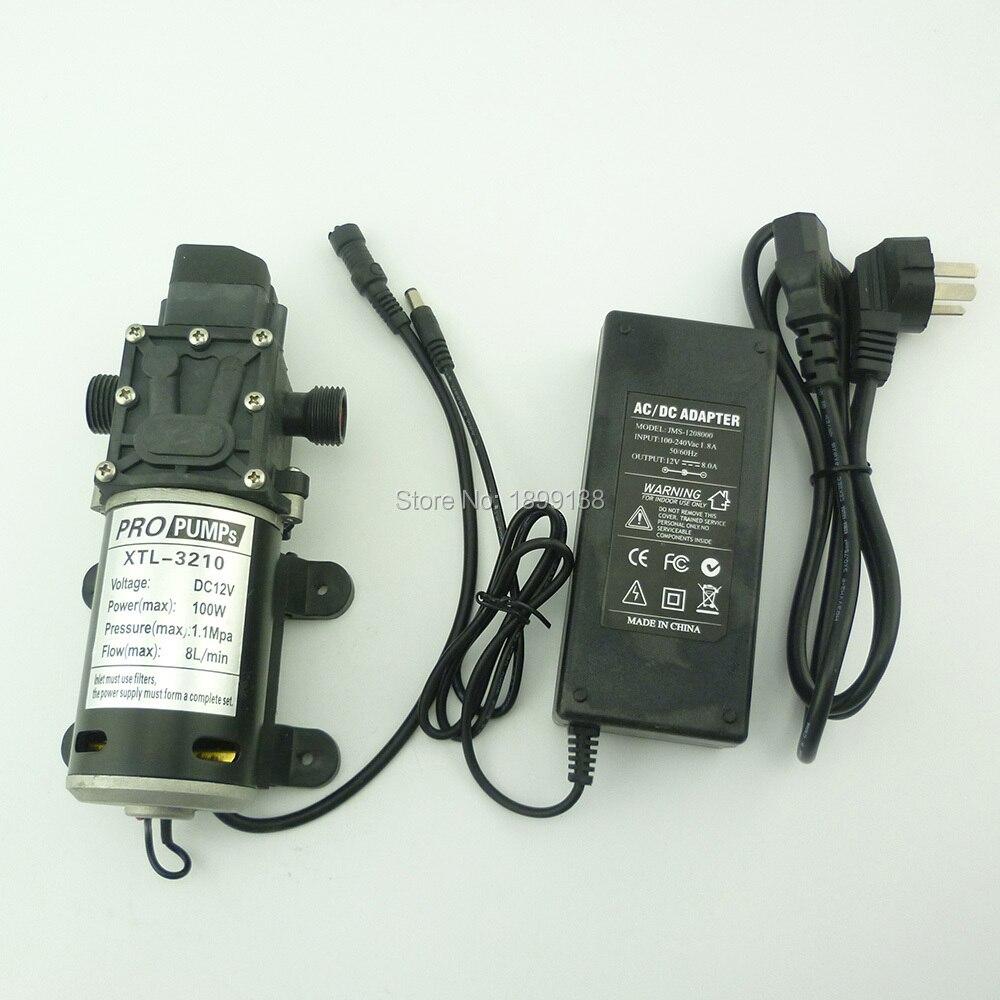Pressostat automatique 100 w 100psi 8L/Min petit diaphragme électrique haute pression dc 12 v pulvérisateur pompe avec adaptateur secteur
