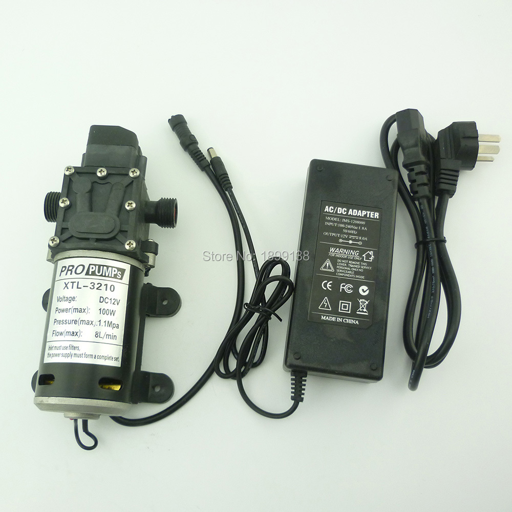 automatic pressure switch 100w 100psi 8L/Min small electric diaphragm High Pressure dc 12v sprayer pump with power adaptor кружка с сердечком на дне