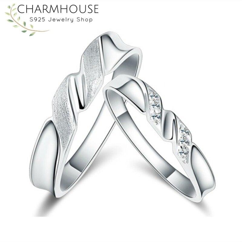 Новый Дизайн серебряные кольца пара для Для женщин Для мужчин обещание Обручение кольцо с циркония Мода Свадебные украшения подарки Anillos Ан...