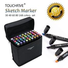 Touchfive 30/40/60/80/168Colors Pen Marker Set Dual Head Sketch Markers Brush Pen For Draw Manga Animation Design Art Supplies kids draw manga monsters
