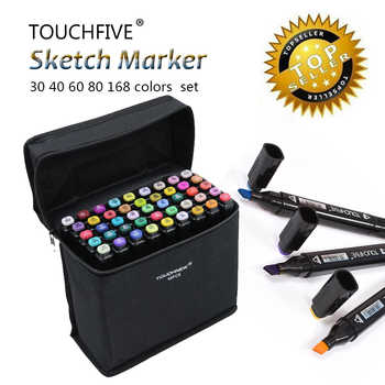 Touchfive 30/40/60/80/168Colors Pen Marker Set Dual Head Sketch Markers Brush Pen For Draw Manga Animation Design Art Supplies - DISCOUNT ITEM  44% OFF All Category