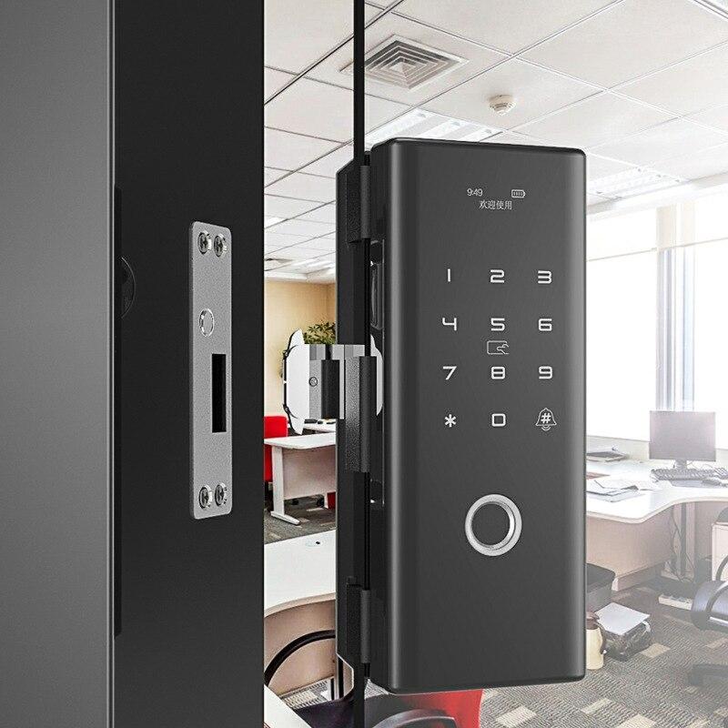 Keyless metal case Smart Fingerprint door lock with IC card password for home office frameless glass