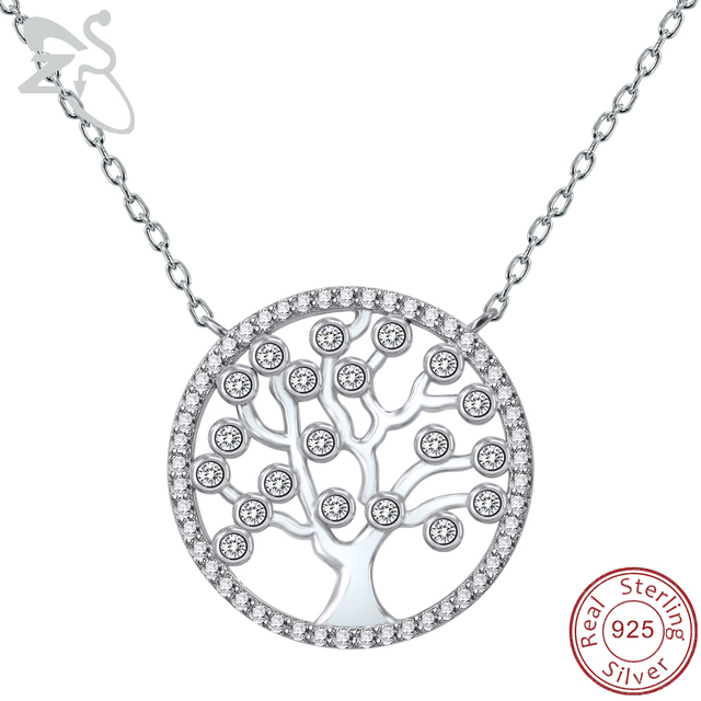 Sterling Silver Multi Cubic Zirconia Tree Of Life Pendant And Chain 925 Wf1IQj