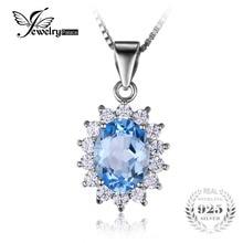 Jewelrypalace princesa diana 2.9ct natural topacio azul colgantes esterlina del sólido 925 silver charm joyería fina para las mujeres de moda