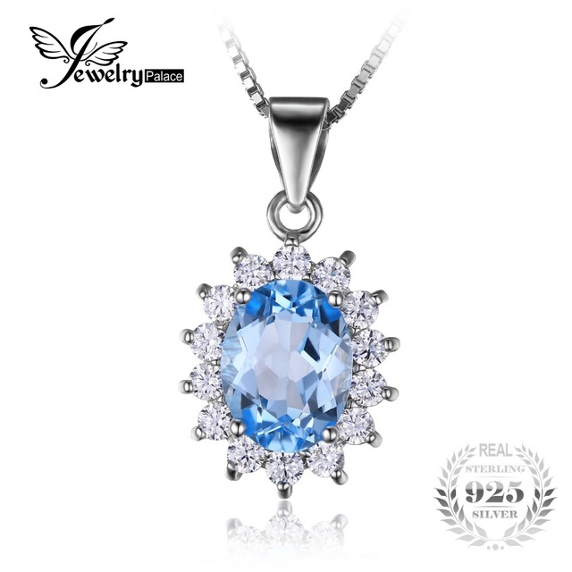 Jewelrypalace princesa diana 2.9ct natural topázio azul pingentes sólido 925 sterling silver charm moda fine jewelry para mulheres