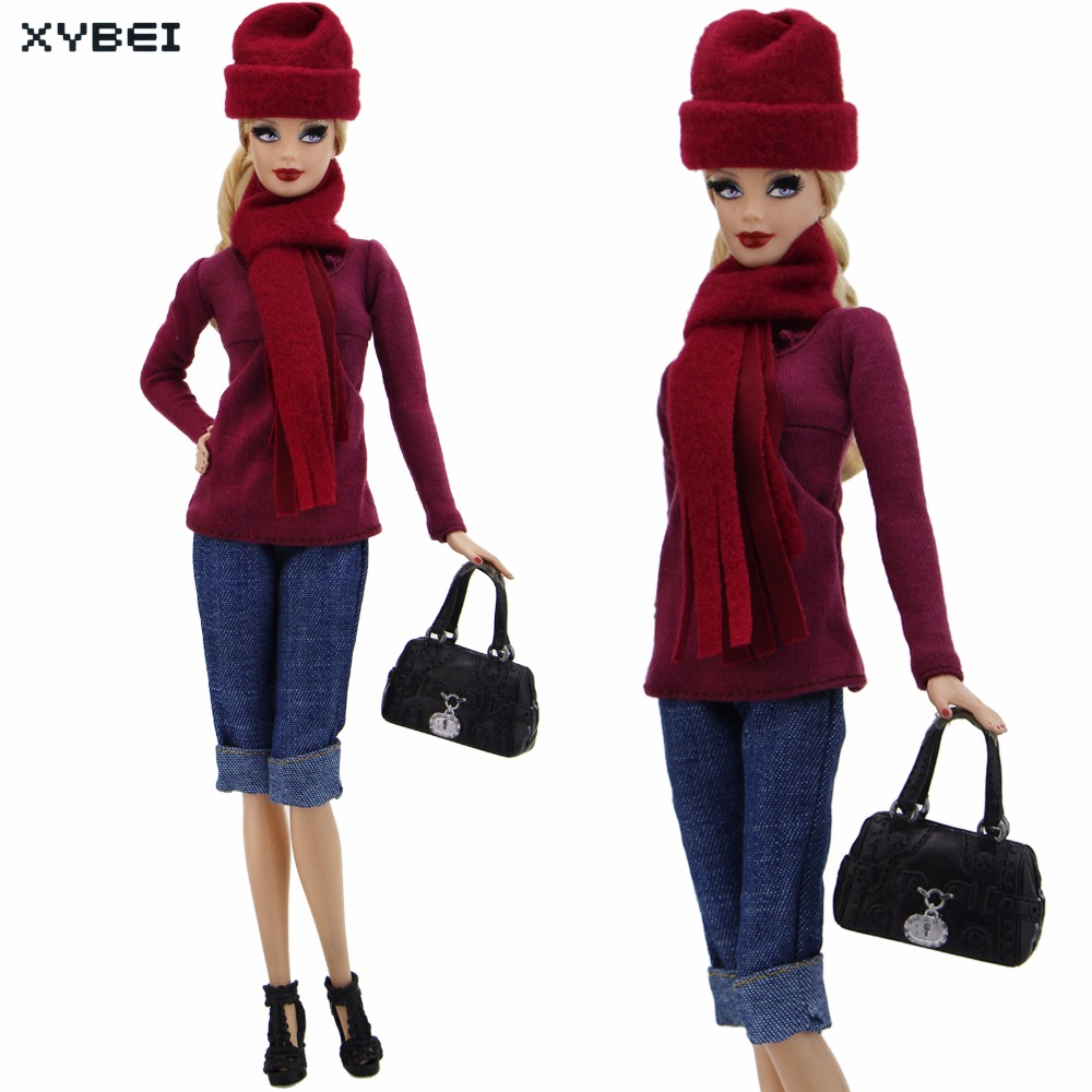 Handmade Red Outfit Party Daily Wear Cap Long Sleeves Blouse Scarf Handbag Jeans Shoes Clothes For Barbie Doll DIY Accessories 5x random handmade fashion lady daily wear blouse