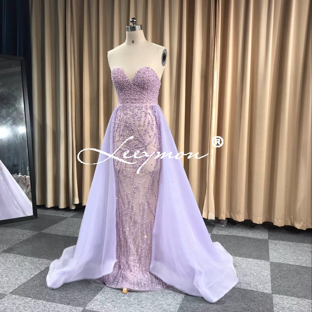 Lavender Tulle O Neck Mermaid Long Evening Dress Beading Pearls Watteau Train Evening Gown robe de soiree longue 2019 Prom Dress in Evening Dresses from Weddings Events