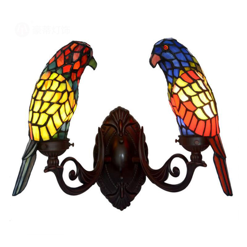 Creative Art Stained Glass LED Bird Light Double Wall Sconce Lamp Decor,Foyer Drawing Living Kids Room Corridor Bedroom Lighting