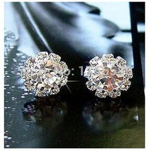 E022 2018 new style shiny sunflowers Crystal earrings wedding jewelry Free Shipping Fashion Crystal Earrings for women(China)