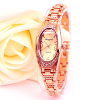 2016 Fashion Female Watch Ladies Quartz Watch Women Analog Wristwatches Bling Crystal Clock Stainless Steel Watch