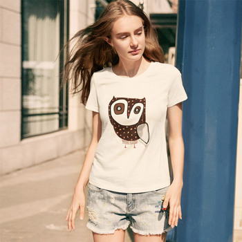 Artka 2017 Casual Owl Embroidery Summer Women T-shirt Short Sleeve Women Clothing T-shirt TA10774X