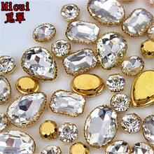 Micui 30PCS Glass Sew On Rhinestones with Gold Copper Claw Crystal Rhinestone Glitter Strass For Clothes MC735