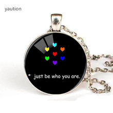 "Hot "" Just Be Who You Are"" Colorfu Heart Photo Glass Pendants Black Long Chain Necklace Women Fashion Undertale Jewelry game(China)"