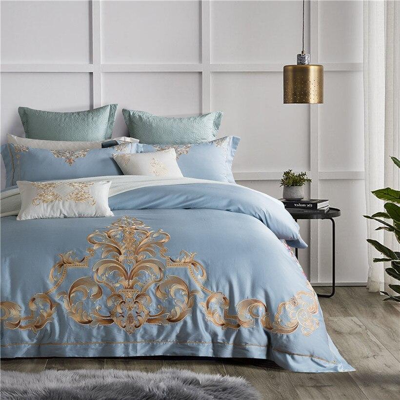 Embroided Egyptian Cotton Blue Luxury Bedding Sets Queen King Size Bed set Bedlinen Quilt/Duvet Cover Bed sheet set 4/6/8Pcs