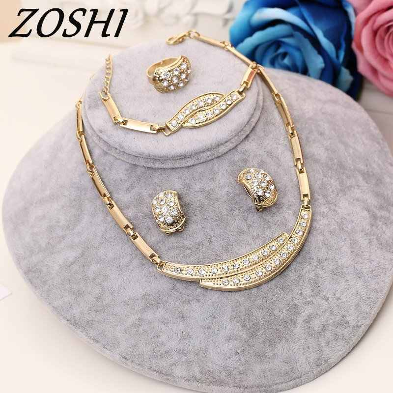 ZOSHI Jewelry Sets Women Indian African Jewelry Set Plant Party Cheap Wedding Jewellery For Brides Dubai Gold Jewelry Sets
