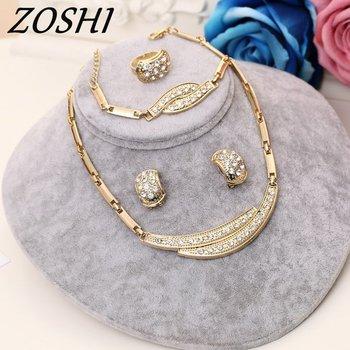 ZOSHI Biżuteria zestawy kobiet Indian Afryki zestaw biżuterii roślin party Tanie Biżuteria ślubna dla narzeczonych Dubai złote zestawy biżuterii tanie i dobre opinie Moda Jewelry Sets Dziewczyny zakochani kobiety necklace+earrings+Bracelet+ring Crystal Klasyczny F719A Stop cynkowy Bridal Jewelry Sets