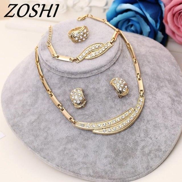 ZOSHI תכשיטי סטי נשים הודי אפריקאי תכשיטי סט צמח מסיבת זול חתונה תכשיטים עבור כלות דובאי זהב תכשיטי סטים