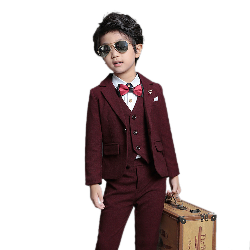 Boys Clothes Sets 2018 New Boys Formal Suit Autumn Spring Boys Wedding Clothes Party/Wedding Tuxedo Suit+Waistcoat+Pants 3Pcs boys formal plaid suit wedding clothes fashion children party clothing sets spring autumn baby classic gift costume kid hot sale