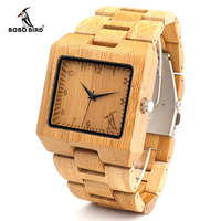 BOBO BIRD L22 Fashion Men Square Bamboo Wooden Watches With BOBO BIRD Pattern On The Dial
