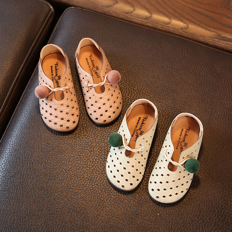 2018 Spring Summer Infant Toddler Baby Girls Princess Shoes Fashion Hollow Leather Kids Flats EU 15-25