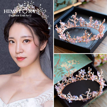 HIMSTORY Vintage Princess Flower Branch Crystal tiara Pink Rhinestone Bridal Hair Jewelry Wedding Queen Pageant Tiaras