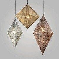 Современные подвесные светильники металлические подвесные лампы Алмазный абажур подвесные лампы для ресторана Кухонные светильники Крис