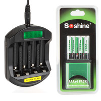 Soshine 4X AAA Ni MH 1100mAh Rechargeable Batteries One Soshine SC C5 LCD Display AAA Smart