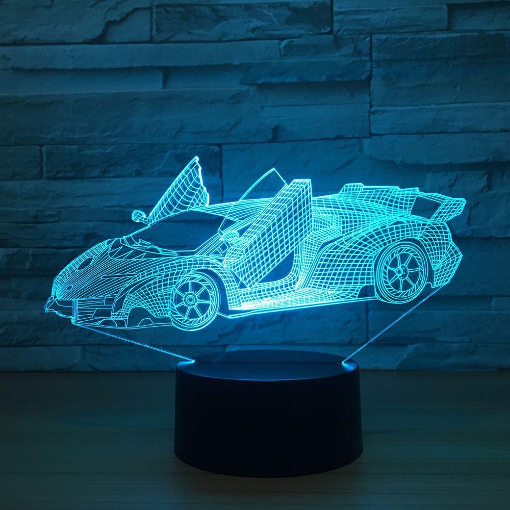 Legal super carro acrílico 3d lâmpada 7 mudança de cor pequena luz da noite luzes cor do bebê led usb lâmpada mesa atmosfera noite decoração lâmpada