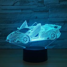 Cool Super Car Acrylic 3D Lamp 7 Color Change Small Night Light Baby Color lights LED USB Desk lamp Atmosphere Night Decor lamp 1piece 7 colors change lamp police box 3d lamp acrylic led usb table lamp tardis lights multi colored bulbing light