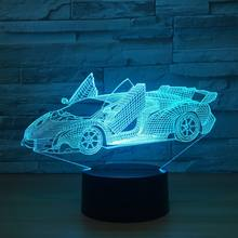 Cool Super Car Acrylic 3D Lamp 7 Color Change Small Night Light Baby Color lights LED USB Desk lamp Atmosphere Night Decor lamp(China)