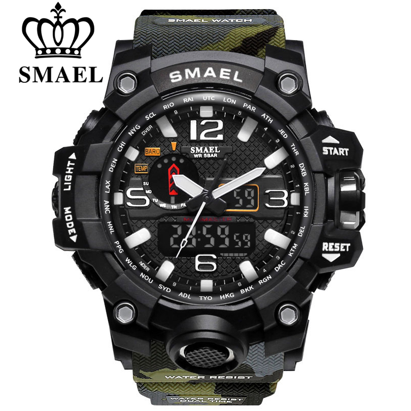 SMAEL Fashion Men Sports Watches Waterproof 50m Outdoor Military Digital Watch Hiking Men's Wristwatch Reloj Hombre Montre Homme