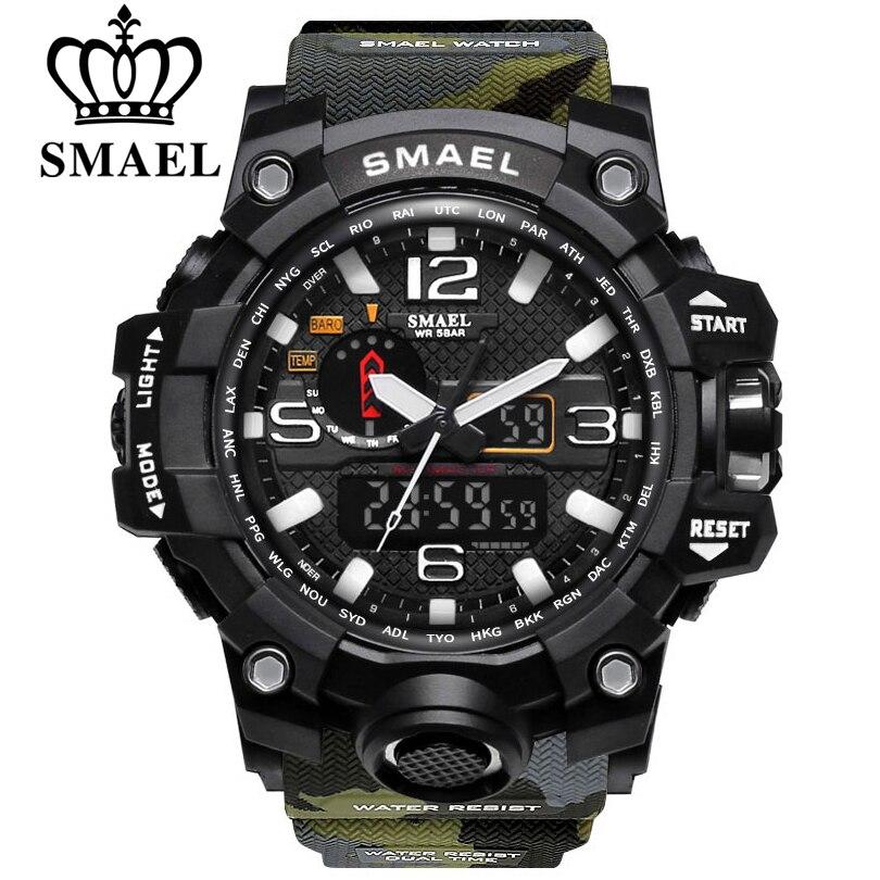 SMAEL Hommes Sports De Plein Air Montre Militaire Montre Numérique hommes Fitness 1545 50 m Étanche Montre-Bracelet Reloj Hombre Montre Homme
