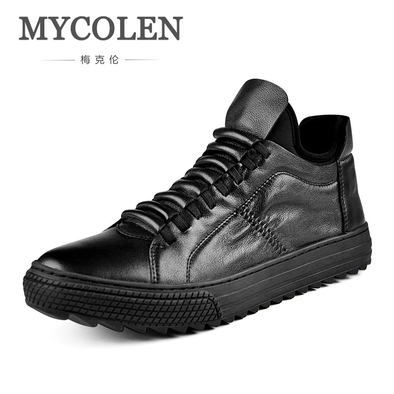 MYCOLEN 2018 Spring/Autumn The New Listing Gobon Leather Men Shoes Fashion Street Style Casual Shoes Zapatillas Hombre Casual 2017 new spring imported leather men s shoes white eather shoes breathable sneaker fashion men casual shoes